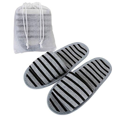 Mangostyle 5 paia set pantofole da viaggio con sacchetti di stoccaggio ciabatte portatile pieghevole antiscivolo unisex misura unica in morbida spugna di cotone 5pcs - grigio+nero
