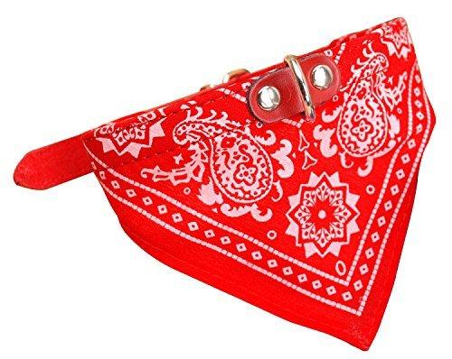 AGIA TEX Hundehalsband mit Hals-Tuch verstellbar Bandana für Hund Katze Farbe Rot Größe XS = 33cm lang