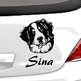 malango Hund Bernersennen Berghund mit Wunschname Autoaufkleber Autosticker Aufkleber Sticker Erhältlich in mehr als 30 Farben 14 x 20 cm grau grau 14 x 20 cm