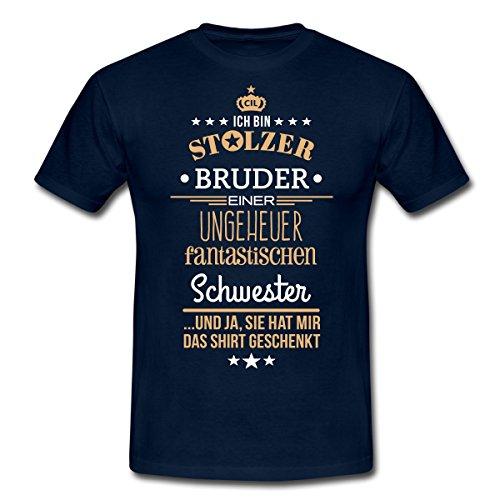 Spreadshirt Stolzer Bruder Einer Fantastischen Schwester Männer T-Shirt, M, Navy