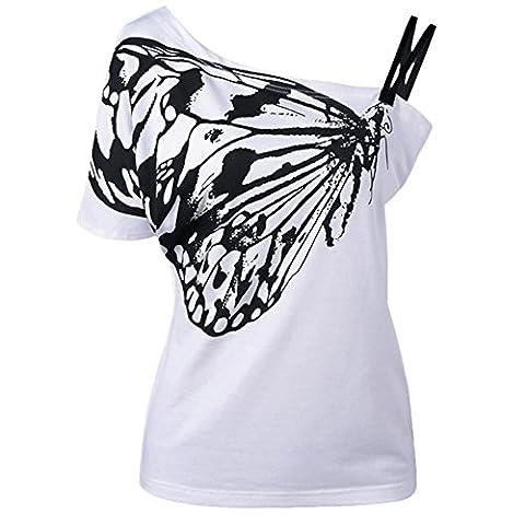 Kinikiss - T-shirt - Asymétrique - Femme - blanc - Medium