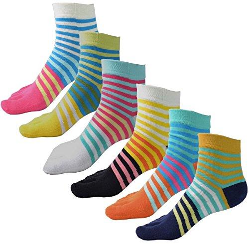 Gestreifte Zehen-socken (Auxma 6Pair Frauen-Mädchen-mittlere Schlauch-Sport-laufende bunte gestreifte Zehe-Socken)