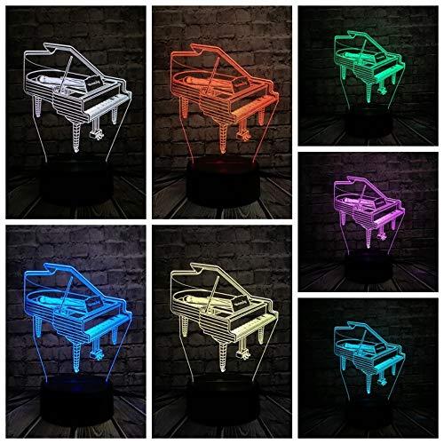 ik Klavier 3D USB Led Lampe 7 Farben Birne Musiker Geschenk Kind Schlafzimmer Dekoration Elegante Nachtlichter ()