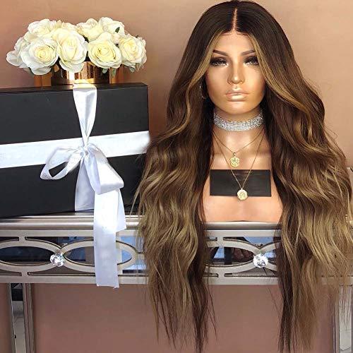 Frauen Braune Gewellte Lockiges Haar Perücke Kostüm Natürlich Synthetische Hitzebeständige - Braunes Lockiges Haar Kostüm