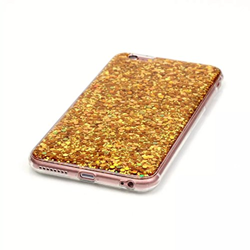 iPhone 6 Plus Coque,Vandot TPU Silicone Cristal Glitter Bling brillant Rhinestone Housse pour iPhone 6S Plus 5.5 Pouces Transparent Housse de Protection Case Cover Housse-Or 2in1Coque-Or