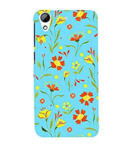 colourful flowers in skyblue background 3D Hard Polycarbonate Designer Back Case Cover for HTC Desire 626