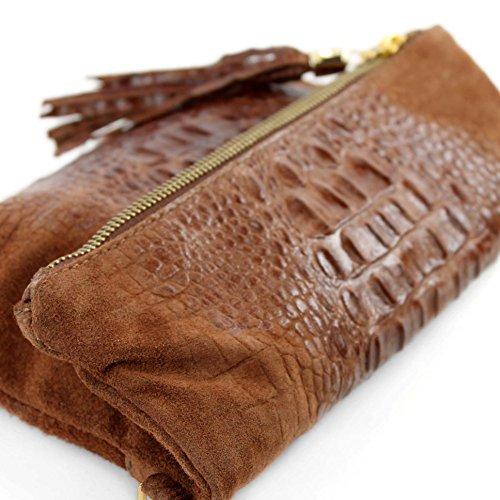 Borsetta in pelle a mano/tracolla in pelle italiana, misura piccola, T54 Braun Wildleder/Kroko