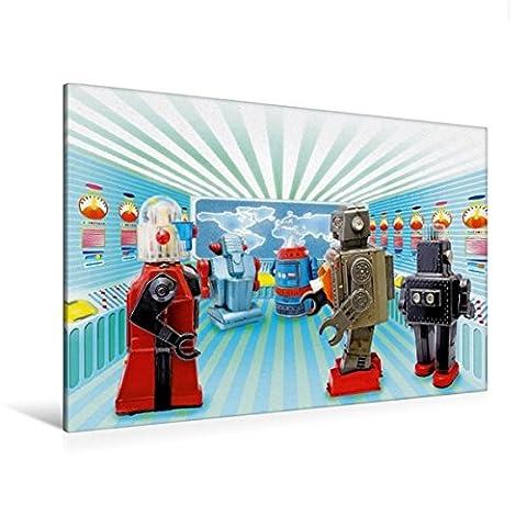 Premium Textil-Leinwand 120 cm x 80 cm quer, Alles im Griff – Spielzeug-Roboter arbeiten fleißig im Kontollraum | Wandbild, Bild auf Keilrahmen, ... Leinwand, Leinwanddruck (CALVENDO Hobbys)