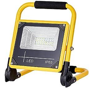 Foco LED portátil 50W Batería recargable, 2400Lm 180 ° Lámpara plegable para emplazamiento de la obra, Impermeable IP65, 5 modos de brillo, 6500K Blanco frío Para obras, decoración de interiores
