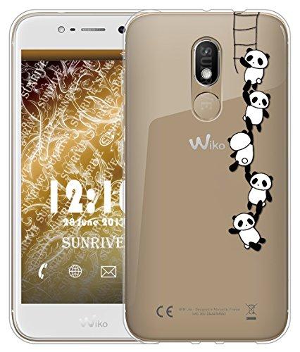 Sunrive Für Wiko Wim Lite Hülle Silikon, Transparent Handyhülle Schutzhülle Etui Case Backcover für Wiko Wim Lite 5,0 Zoll(TPU Panda 1)+Gratis Universal Eingabestift
