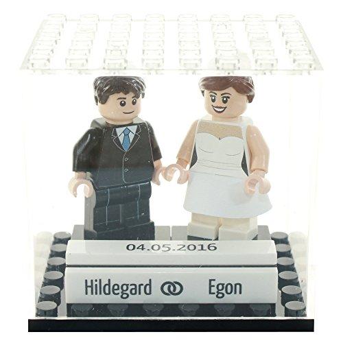 Custom Minifiguren personalisiertes Brautpaar / Hochzeitspaar aus Lego Teilen in Mini-Vitrine (Lego Custom)