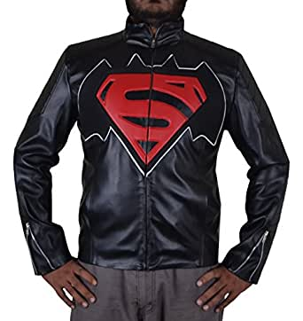 dawn of justice superman vs batman leather jackets for man faux leather xxs to 5xl black amazon. Black Bedroom Furniture Sets. Home Design Ideas