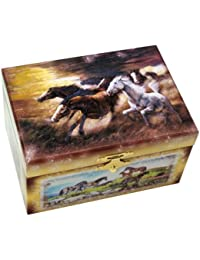 "Musicboxworld Jewellery Box Horse Playing ""Green Green Grass Home"""