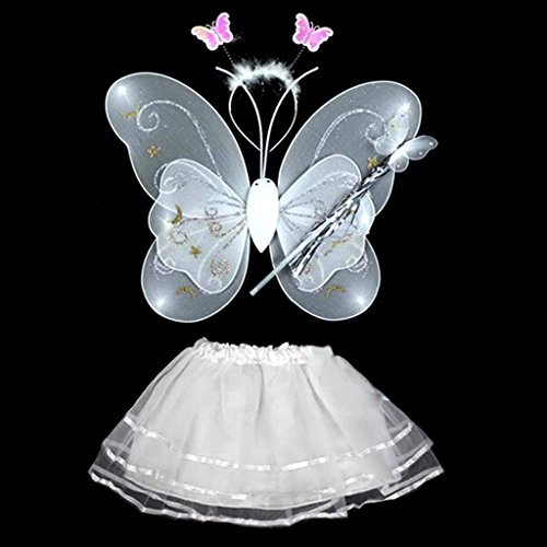 Weiße Kostüm Schmetterlingsflügel (4 Stück Schmetterlings-Flügel-Stab-Stirnband-Kleid-Mädchen-Fee Prinzessin Kostüm Schule Showbühne Fotografie Prop)