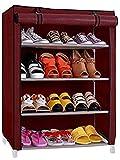 #9: SamayPro Shoe Rack with 4 Shelves/Maroon Color