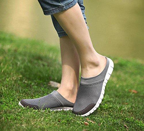 GLTER Uomo Clogs Estate e Autunno Scarpe Sportive Respirabili Scarpe da Corsa Scarpe da Mesh Slip On Scarpe Casual Scarpe Flat Scarpe Grey