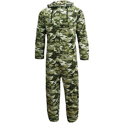 Herren Overall volle Länge Fleece Overall mit Kapuze Einteiler Hausanzug Jungen, Tarnung, Klein - XL Camouflage