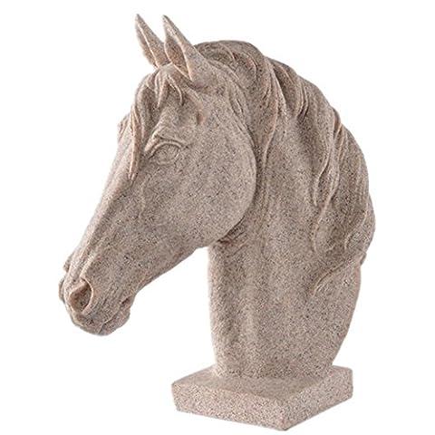 Décoration Décoration Sculpture de tête de cheval Artisanat de grès Décoration de salon Cadeaux créatifs