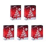 Sigel GT023 Lot de 5 sacs cadeaux Noël, 23 x 17 cm, rouge et blanc