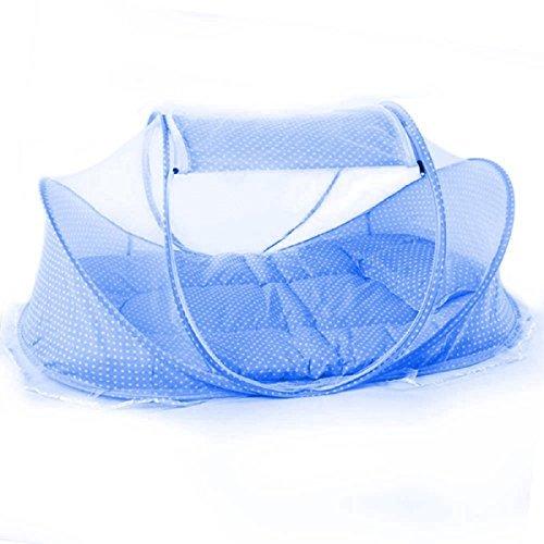Baby-kuppel-zelt (Babyzelt Faltbett mit 1 Moskitonetz,1 Matratze,1 Netz mit Musik für Baby tragbar)