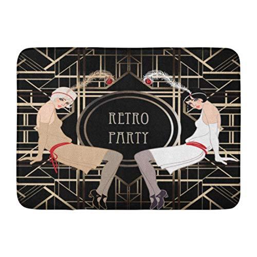 Rutschfeste Fußmatten 1920er Jahre Flapper Girl Retro Party Speakeasy Roaring 20S Mafia Nostalgie Dauerhafte Hauptdekor-Matte 23,6 x 15,7 ()