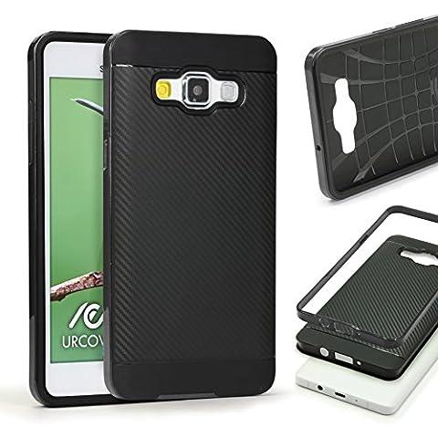URCOVER® Hybrid Case Carbon Style Housse de Protection | Samsung Galaxy S6 Edge Plus | Plastique et Silicone en Noir | Bumper Coque Double-couche Ultra-mince Étui Anti-chocs Cover