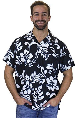 Funky-Camisa-Hawaiana-Hibiscus-negro-M