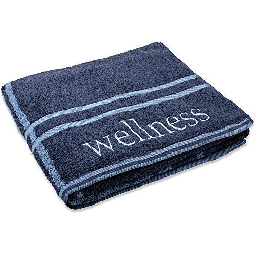 Wellness Saunatuch 80 x 200 cm | Baumwolle Frottee Handtuch mit Stickerei | CelinaTex dunkel-blau 0002145