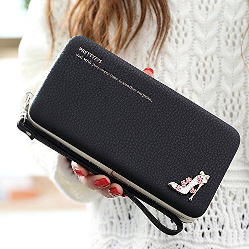 """Portefeuille Femme [Grande Capacité] Porte-passeport 6.77 """"x 3.62"""" x 0.98 """" (17.2cm x 9.2cm x 2.5cm), Vandot Universal Pochette pour iPhone X/8/8 Plus /7/7Plus /6S/6S Plus/6/6Plus/SE/5S, Galaxy S8 Plu Talons hauts - Noir"""