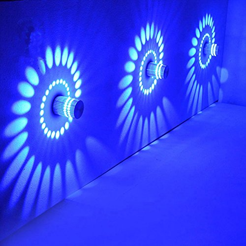 ONEVER Techo espiral de luz LED 3W l¨¢mpara de pared de luz azul Pasillo barra del p¨rtico Decoraci¨n