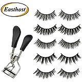 Easthost Eyelash Curler And False Eyelashes Vega for Women 3D Fake EyelashesSet of 5 Pairs
