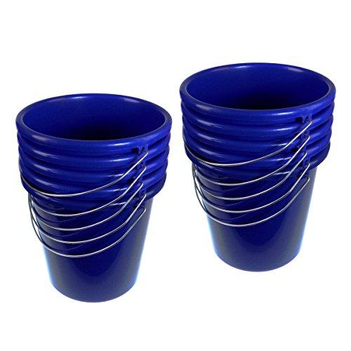 Putzeimer Eimer 5 Liter Kunststoff blau mit Metallbügel 10 Stück