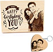 GFTBX Birthday Gifts Combo - Personalised Engraved Wooden Photo Plaque and Heart Shaped Personalized Wood Phot