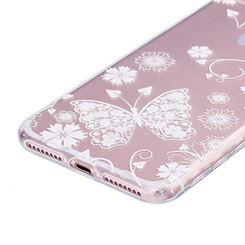 Felfy Coque Pour iPhone 7 Plus,iPhone 7 Plus Coque,iPhone 7 Plus Case Case Ultra Mince Slim Coque Gel Souple Soft Flexible TPU Silicone Fashion Etui Painted Motif Design Bumper Anti Waterproof Scratch Papillon Blanc case