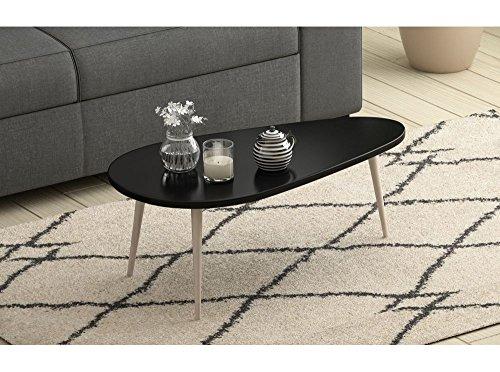 Usinestreet Table basse scandinave WOODY laquée avec pieds en bois massif - Couleur - Noir