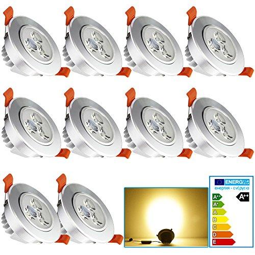 VINGO® 10 Stücke 3W LED Einbaustrahler Badezimmer Warmweiß Sparlampe rund für küche 85-265V AC