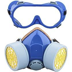 Ewolee Masque de Protection Respiratoire Filtrant Complète Contre Peinture Chimique Industriel, Masque Gaz Pour Contre Pesticides, Masque Anti-Poussière avec Deux Soupapes Lunettes Set, Bleu