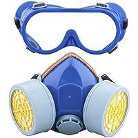 Ewolee Máscara respiratoria de Gas para Pintar, Mascarillas y Respiradores Antipolvo con Gafas de Seguridad - Azul