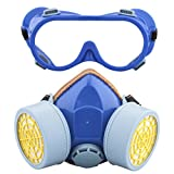 Ewolee Maschera Gas - Maschera Polvere con Occhiali Respiratore Sicurezza di Carbonio Attivate per Prevenzione di Vapori Organici, Benzina, Pesticidi, Acetone, Disolfuro di Carbonio e Così Via(Blu)