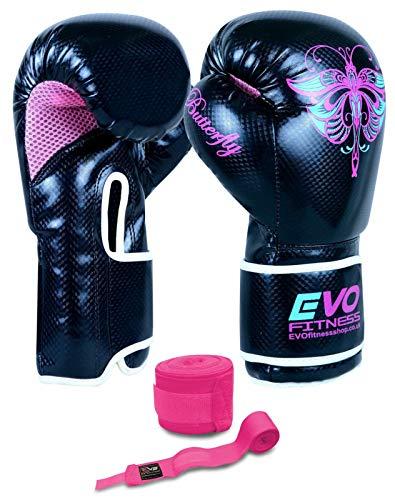 Evo Fitness Ladies Gel Rex - Leder- Boxhandschuhe für Damen - geeignet für Punching-Übungungen und alle gängigen Kampfsportarten - MMA, Muay Thai, Kick-Boxing, 227 g