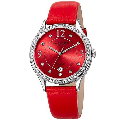 Akribos XXIV à Quartz pour Femme Diamant et Cristal Swarovski Argenté et Bracelet Cuir Rouge Montre–Ak1011rd