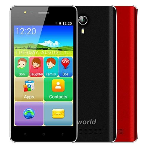 VKworld Senioren Handy Ohne Vertrag Günstig F1 3G Smartphone 4,5 Zoll IPS Android 5.1 Quad-Core 1.1GHz 1GB Ran + 8G ROM Dual-Sim 2.0MP+5.0MP Dual Kamera Smart Wake Lupe GPS FM-Radio OTA SOS (Schwarz)