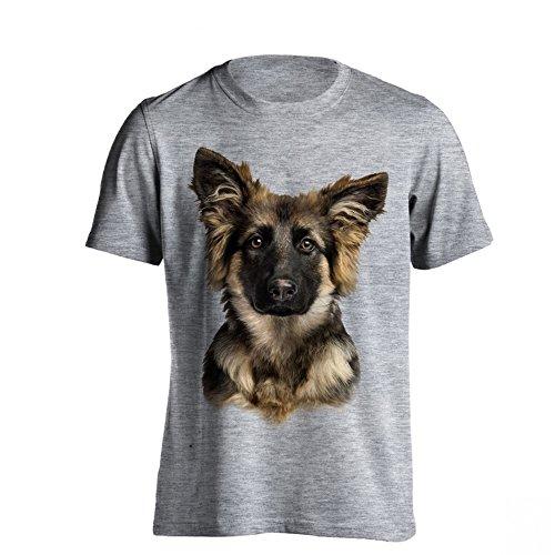 The T-Shirt Factory - Maglietta con Pastore Tedesco - Uomo (XL) (Grigio)
