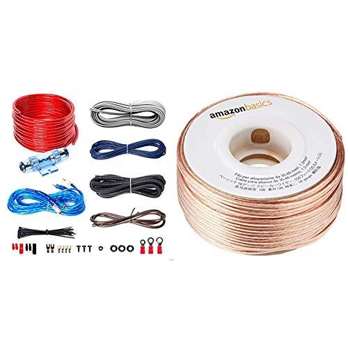 BOSS AUDIO KIT2 8 Gauge/ 3,27 mm Auto Installations-Set Verstärker Endstufe Kabel Anschlusskabel Cinch Kabel, Mehrfarben & AmazonBasics Lautsprecherkabel 1,3 mm² / 16 Gauge, 30,48 m (100 Fuß) (Boss-subwoofer 8)