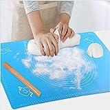 Backmatte Baking Mat Nonstick Rutschfeste Backunterlage mit Messungen Fondant Teig Gebäck aus Silikon Backmatte Teigmatte Wiederverwendbar für Fondant Gebäck Pizza Matte, BPA Frei, (65x45CM Blau)