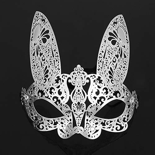 GJY Metall Maske Ball Prinzessin halb Gesicht Maske Halloween Party Party Maske Requisiten Männer und Frauen,Silver