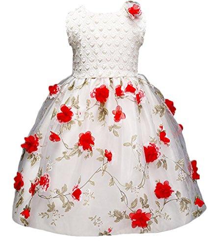 EOZY Enfant Fille Princesse Robe Blanc Dentelle Floral Party Mariage Baptême 140