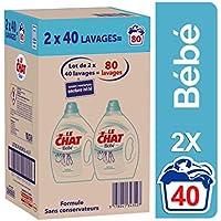 Le Chat Bébé- Lessive Liquide Hypoallergénique - Bébés & Peaux Sensibles - 80 Lavages (2 x 2 L)