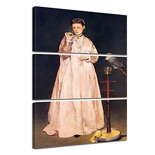 Jahrhunderts Aquarell (Kunstdruck mit Winter SALE - Édouard Manet - Junge Dame mit Papagei - 90x150cm dreiteilig - Alte Meister - Leinwandbilder - Bilder als Leinwanddruck - Bild auf Leinwand - Wandbild von Bilderdepot24)
