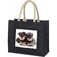 Miniature Schnauzer Dogs Large Black Shopping Bag Christmas Present Idea